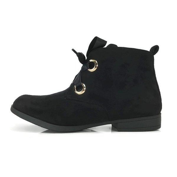 8953847e0035 Steven Ella Women  x27 s Fashion Ankle Bootie Lace Up Ribbons Faux Suede  Flat