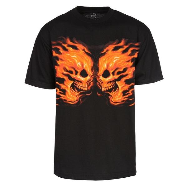 Men's Flame Skulls Short-Sleeve T-Shirt, Black