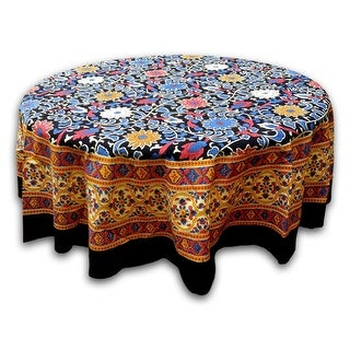 Link to Sunflower Print Cotton Floral Tablecloth Round Square Yellow Black Blue Red Similar Items in Table Linens & Decor