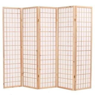 "vidaXL Folding 5-Panel Room Divider Japanese Style 78.7""x66.9"" Natural"