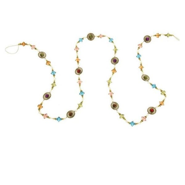 6 eastern jeweled multicolored acrylic beaded christmas garland - Beaded Christmas Garland