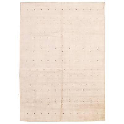 ECARPETGALLERY Hand Loomed Gabbeh Luribaft Light Khaki Wool Rug - 9'10 x 13'8
