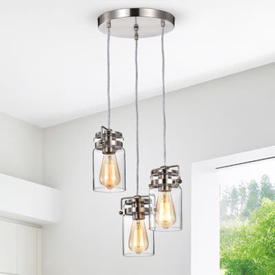 Brushed Nickel 3-Light Multi Light Adjustable Pendant with Clear Glass Sconce - Brushed Nickel