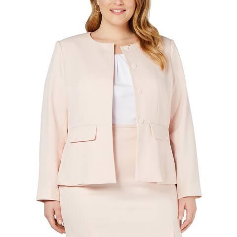 Calvin Klein Women's Jacket Pastel Pink Size 20W Plus Textured Peplum