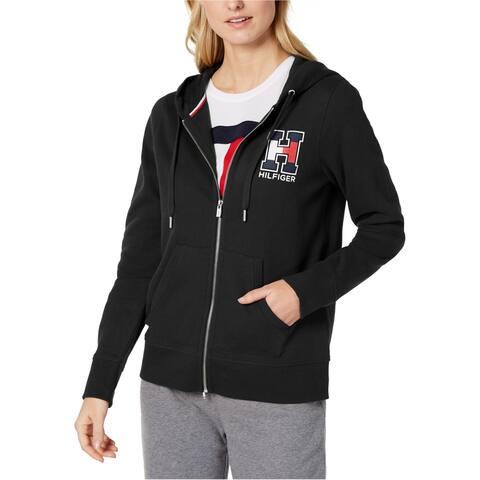 Tommy Hilfiger Womens Varsity logo Hoodie Sweatshirt, Black, X-Small