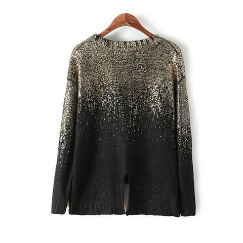 New Arrival Full Sleeve O-Neck Fashion Pullovers Standard Coarse Wool Computer Knitted Women's Fashion Bling Sweater - m