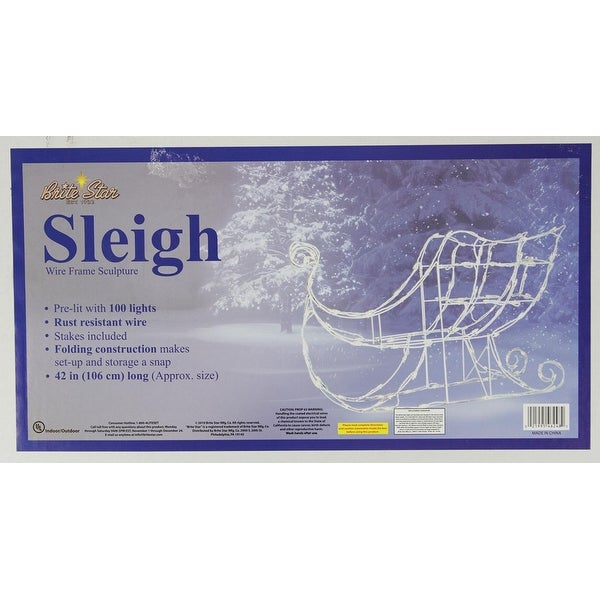 """42"""" Lighted White Sleigh Christmas Outdoor Decoration - Clear Lights"""