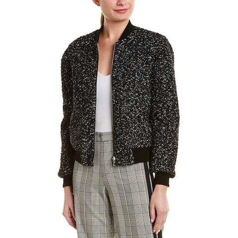 Alice + Olivia Lonnie Reversible Wool-Blend Bomber Jacket