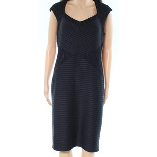 London Times NEW Black Womens Size 12 Lace Panel Ribbed Sheath Dress