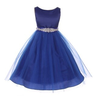 Little Girls Royal Blue Bejeweled Waist Sleeveless Flower Girl Dress