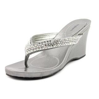Style & Co Caprii Women Open Toe Canvas Gray Wedge Sandal