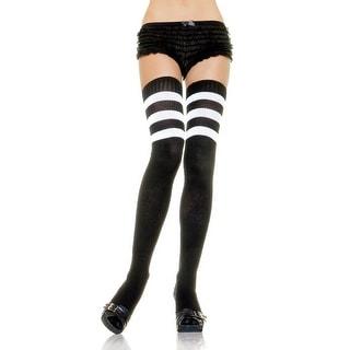 Black Athletic Socks with White Stripes