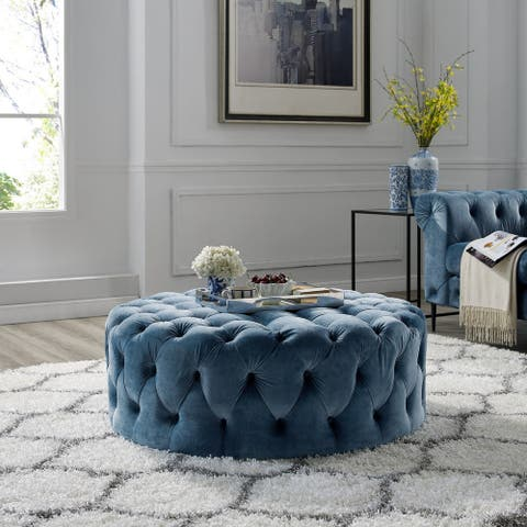 Corvus Chesterfield Round Tufted Velvet Ottoman with Casters