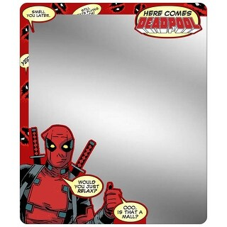 Marvel Universe Hear Comes Deadpool Thumbs Up Pose Quotes Logo Locker Mirror One Size