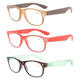 Eyekepper Reading Glasses 3 Pack With Brown, Red, Tortoise comfort Classic +0.5