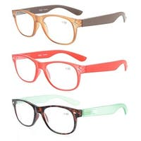 Eyekepper Reading Glasses 3 Pack With Brown, Red, Tortoise comfort Classic +3.5