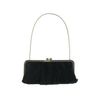 La Regale Womens Satin Metal Frame Clutch Handbag - Champagne - Small
