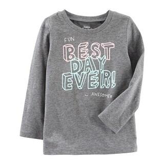 OshKosh B'gosh Big Girls' Original Graphic Tee, Gray, 8 Kids - gray