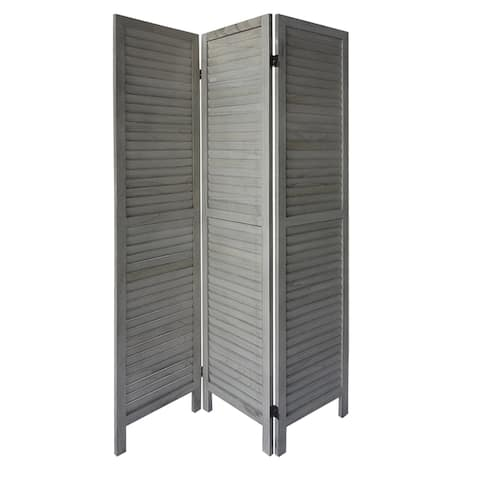 3 Panel Foldable Wooden Divider Privacy Screen with Plank Style and Hinges, Distressed White