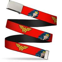 Blank Chrome Buckle Wonder Woman Logo Face Repeat Red Webbing Web Belt