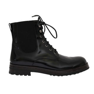 Dolce & Gabbana Dolce & Gabbana Black Leather Ankle Stretch Boots
