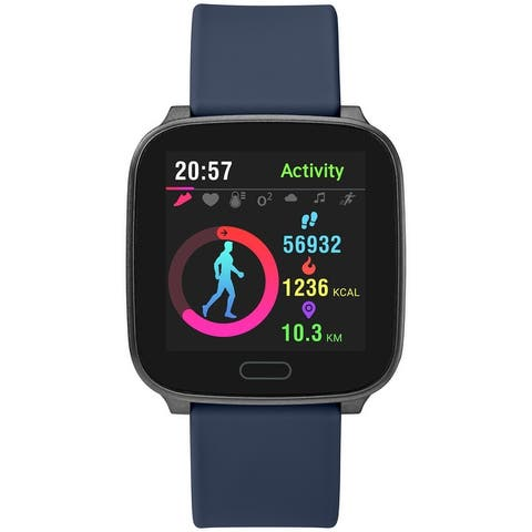 iConnect by Timex Active Smartwatch with Heart Rate, Notifications & Activity Tracking 37mm - Gunmetal with Blue Resin Strap