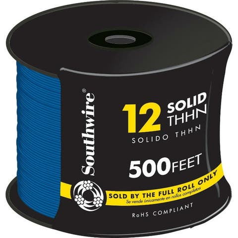 Southwire 11590758 Type THHN Nylon Jacketed 12 Solid Building Wire, Blue, 500'