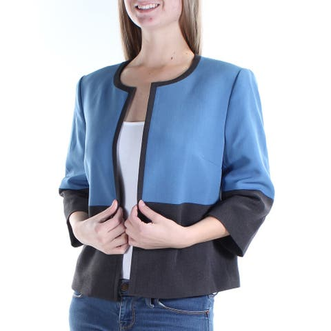 KASPER Womens Blue Suit Wear To Work Jacket Petites Size: 4