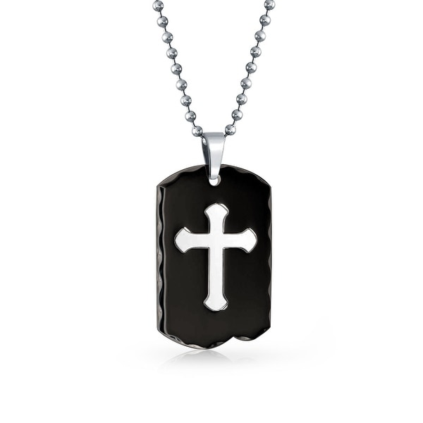 6f12f5d6154 Two Tone Black Dog Tag Carved Edge Large Cross Pendant For Men Black Silver  Tone Stainless