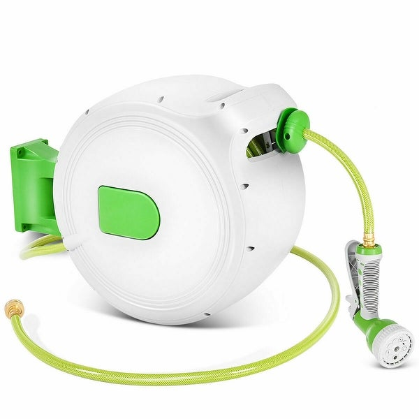 Shop Black Friday Deals On Costway 100 Retractable Water Garden Hose Reel Auto Wall Mounted W Spray Gun As Pic Overstock 20997905