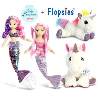 "Aurora 18"" Sea Sparkles Sea Iris & Coralina 18"" Mermaids, 12"" Flopsie Rainbow Unicorn & Precious Moments Unicorn 8.5"" (4 Items)"