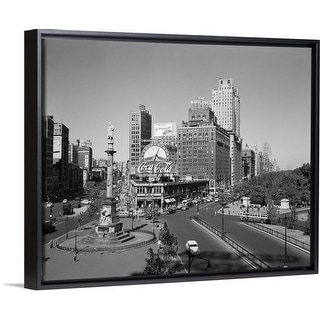 """1950's Columbus Circle Looking North Manhattan New York City USA"" Black Float Frame Canvas Art"