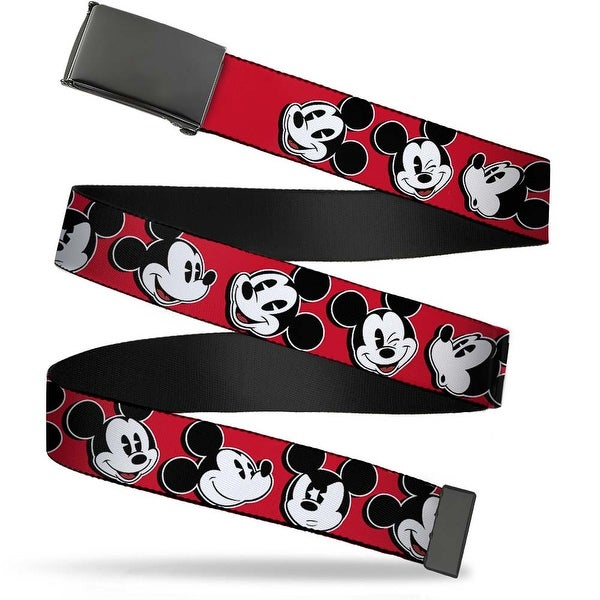 Blank Black Bo Buckle Mickey Mouse Expressions Red Black White Webbing Web Belt