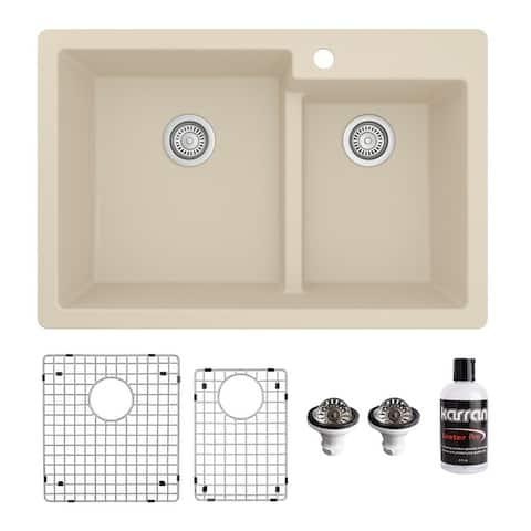 "Karran 33"" Top Mount Large/Small Bowl Quartz Kitchen Sink Kit - 33"" x 22"" x 9"""