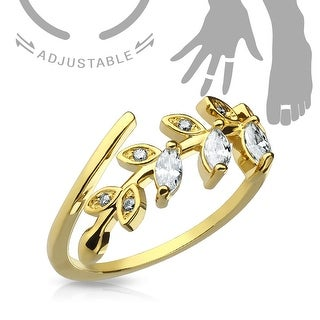 Marquise Cut CZ Leaf Adjustable Toe Ring/Mid Ring (Sold Ind.)
