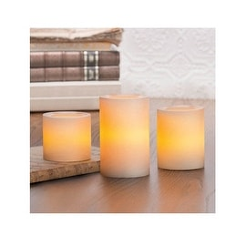 Inglow CGT25667CR301 Flameless Pillar Candle Set With Timer, Cream