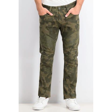 INC International Concepts Men's Slim-Fit Stretch Camo Moto Jeans Green Size 38