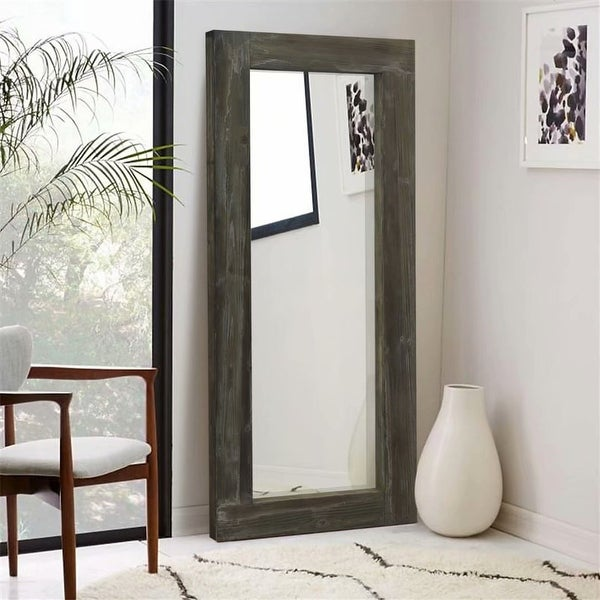 Rustic Wood Freestanding Full-length Floor Mirror - 58''x24''. Opens flyout.