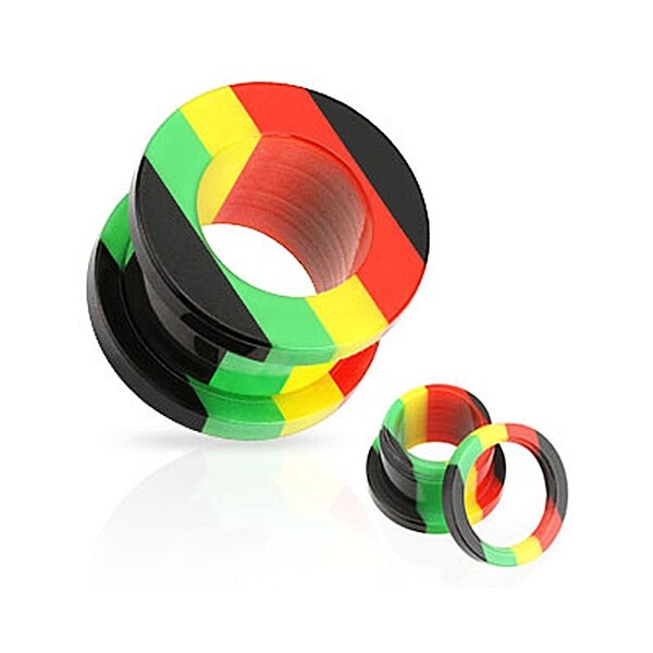 Rasta StripeScrew-Fit Hollow All Acrylic Plug (Sold Individually)
