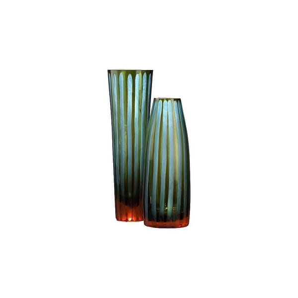Shop Cyan Design 1129 105 Small Cyan And Orange Striped Vase