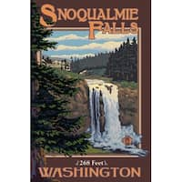 Snoqualmie Falls, WA - Day - LP Artwork (Art Print - Multiple Sizes Available)