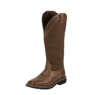 Justin Work Boots Mens Stampede Square Toe Western Tan Brown WK4556