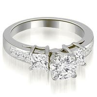 2.00 ct.tw Channel Set Princess and Round Cut Diamond Engagement Ring - White H-I