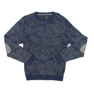 Tasso Elba Mens Ribbed Crewneck Paisley Sweater