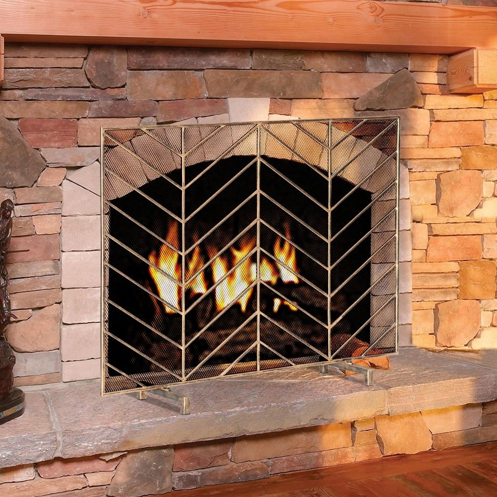 Modern Iron Single Panel Fireplace Screen Decorative Mesh Cover Baby Safe Proof Fire Place Overstock 32119030