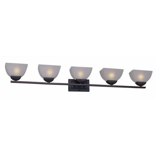 Forte Lighting 5700-05 5 Light Bathroom Vanity Light with White Linen Glass Shades