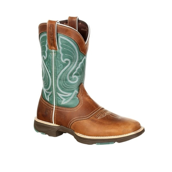 Durango Western Boot Women Ultralite Square Rocker Tan Emerald