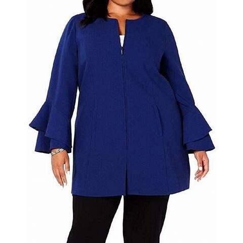 Alfani Women's Jacket Blue Size 2X Plus Ruffle Sleeves Full-Zip
