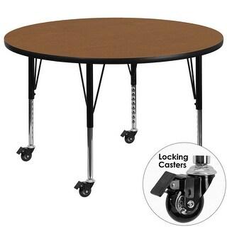 Fun & Games Activity Table 42'' Round Oak Thermal Laminate Adj Short Legs w/Wheels
