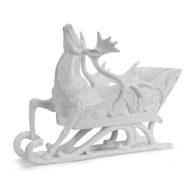 """12.75"""" Sparkling Whites Glittered Reindeer and Sleigh Christmas Decoration - WHITE"""